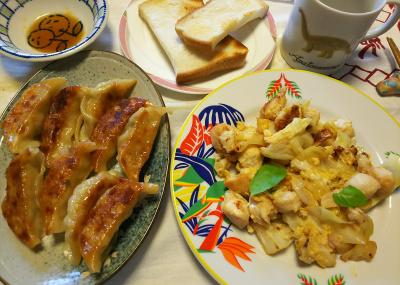 DSC_7608_0701昼-餃子、鶏とキャベツの卵炒め、トースト_400.jpg