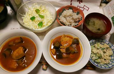 DSC_7623_0703夜-チキンと茄子のトマトジュース煮、大根味噌汁、ポテトサラダ、バジル風味キャベツサラダ、雑穀ごはん_400.jpg