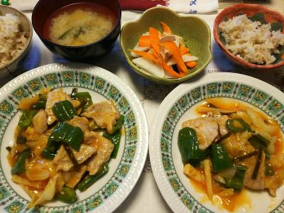 DSC_7654_0706夜-ポークピーマンキャベツのケチャップ炒め、大根と人参箸休め、味噌汁、雑穀ごはん_400.jpg