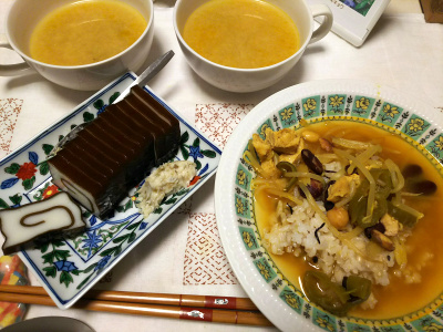 DSC_7686_0708夜-昆布巻きかまぼこ、わさび漬け、スープカレー、味噌汁_400.jpg