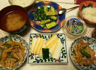 DSC_7693_0709夜-豚肉とじゃがいもの中華炒め、富山焼きかまぼこ、わさび漬け、たたき牛蒡、大根味噌汁、白ごはん_400.jpg