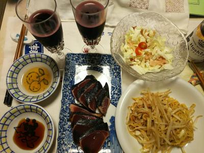 DSC_7955_0724夜-ブラックベリーワイン、採れたてミニトマトサラダ、カツオのたたき、焼きそば_400.jpg