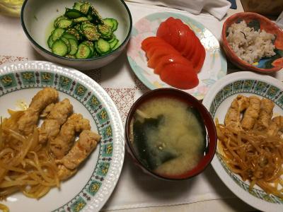 DSC_7989_0729夜-薄切りポーク巻もやし炒め、トマト、きゅうりの酢の物、味噌汁、雑穀ごはん_400.jpg