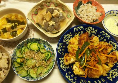 DSC_8055_0804夜-チキンカツ焼き、採れたてバジルマヨネーズ、キュウリミョウガ酢の物、こんにゃく煮物、かきたま汁、雑穀ごはん_400.jpg