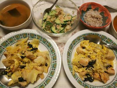 DSC_8080_0806夜-チキンキャベツきくらげ豆板醤炒め、ポテトサラダ、スープ、縄文ご飯_400.jpg