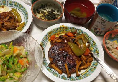 DSC_8196_0816夜-採れたてゴーヤNo7と大根の和風サラダ、トマトとピーマンハンバーグ、モロッコいんげんのお吸い物、茶葉佃煮、縄文ご飯_400.jpg
