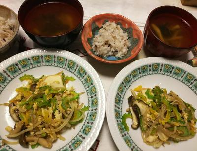 DSC_8230_0818夜-ゴーヤチャンプルー、しめじスープ、縄文ご飯_400.jpg