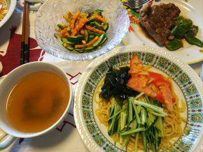 DSC_8236_0819昼-採れたて完熟ゴーヤサラダ、ラムステーキ、モロッコいんげん添え、流水麺冷やし中華、スープ_400.jpg