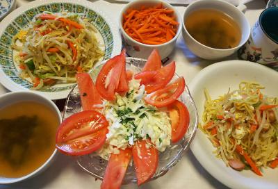 DSC_8305_0823昼-トマトキャベツサラダ採れたてバジルソース、焼きそば、人参きんぴら、わかめとモロッコいんげんスープ_400.jpg