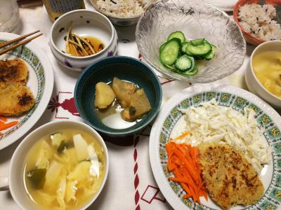 DSC_8310_0824夜-ポークカツレツ、キャベツと人参添え、卵スープ、煮物、キュウリ胡麻和え、雑穀ごはん_400.jpg