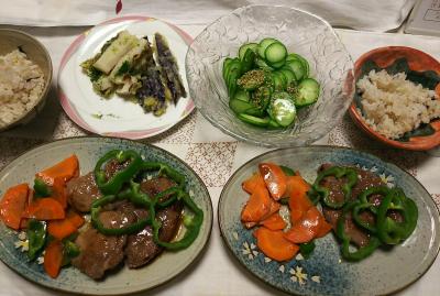 DSC_8387_0901夜-ラムソテー、ピーマン人参添え、天ぷら、キュウリのわさび胡麻和え、雑穀ごはん_400.jpg