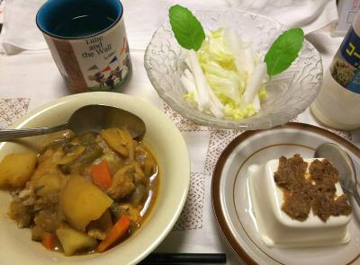 DSC_8470_0905夜-採れたてバジルの葉と大根レタスサラダ、チキンカレーライス、ごぼう味噌のっけ冷奴_400.jpg