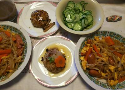DSC_8542_0912昼-焼きそば、豆腐バーグ、キュウリサラダ_400.jpg