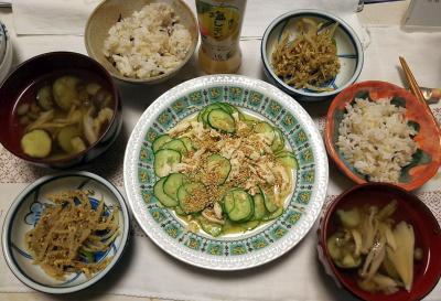 DSC_8617_0918夜-蒸し鶏とキュウリのゴマ和え、もやし炒め、きのことなすのチキンスープ、雑穀ごはん_400.jpg