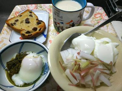 DSC_8733_0927昼・キッチン-採れたてみょうが大根ヨーグルト、温泉卵茶葉佃煮、レーズンパン、豆乳_400.jpg
