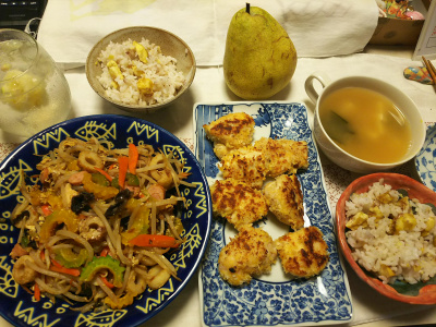 DSC_8783_1002夜-採れたてゴーヤチャンプルー、鶏パン粉焼き、栗ご飯、豆腐スープ_400.jpg