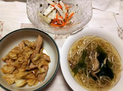 DSC_8796_1003夜-ポークとキャベツソテー、流水麺温蕎麦、大根人参サラダ_400.jpg