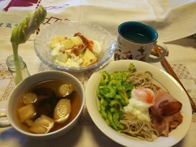 DSC_8810_1004昼-ゴーヤスライスと卵と焼豚のっけ流水麺蕎麦、麩のお吸い物、リンゴヨーグルト、ユウガオの蕾_400.jpg