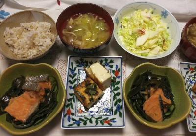 DSC_8888_1007夜-鮭と昆布の酢醤油煮物、厚揚げソテー、ミョウガ白菜とリンゴのサラダ、ミョウガ白菜味噌汁、雑穀ごはん_400.jpg