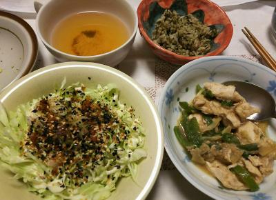 DSC_8962_1014夜-キャベツサラダ、鶏炒め、茶葉佃煮ご飯、スープ_400.jpg
