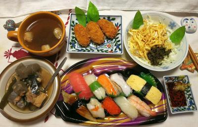DSC_9117_1023夜-握り寿司、カキフライ、煮物、キャベツと錦糸卵のサラダ、麩のスープ_400.jpg
