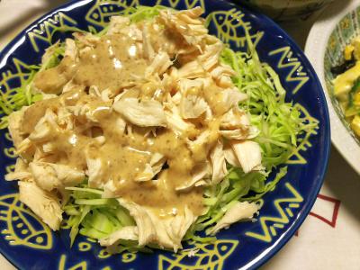 DSC_9210_1030夜-ササミの蒸し鶏ゴマダレサラダ_400.jpg