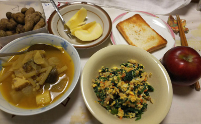 DSC_9363_1110夜-カレー、ほうれん草卵とじ、リンゴ、トースト、茹で落花生_400.jpg