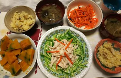 DSC_9537_1117夜-蒸し鶏ときゅうり、かぼちゃ煮、ナス味噌汁、人参きんぴら、オレンジサンマご飯_400.jpg