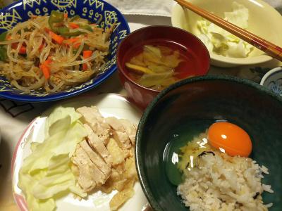 DSC_9586_1118夜-美味しい卵、蒸し鶏、白菜スープ、もやしツナ炒め、雑穀ごはん_400.jpg