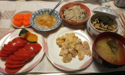 DSC_9619_1123昼-蒸し鶏、トマト、大根おろし、かぼちゃ、大根昆布和え、味噌汁、雑穀ごはん_400.jpg