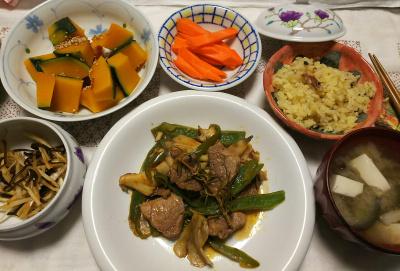 DSC_9637_1124夜-サンマオレンジご飯、ラムソテー、かぼちゃ煮、味噌汁、大根昆布和え、人参スティック_400.jpg
