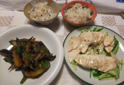DSC_9698_1129夜-ナスとピーマン炒め、蒸し鶏ときゅうり、雑穀ごはん_400.jpg