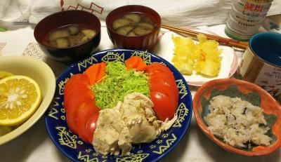 DSC_9767_1203夜-蒸し鶏サラダ、イカフライ、ナスの味噌汁、雑穀ごはん、橙を絞って飲む_400.jpg