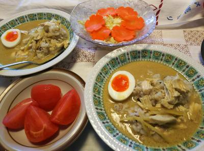 DSC_9851_1210昼-味の素グリーンカレーに蒸し鶏とゆで卵、トマト、キャベツと人参サラダ_400.jpg