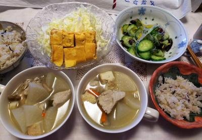 DSC_9858_1211昼-煮込みスープ、卵焼きサラダ、酢の物、雑穀ごはん_400.jpg