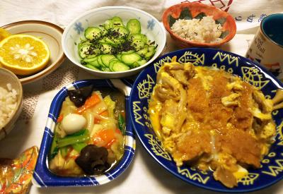 DSC_9860_1211夜-煮カツ(ロースカツ卵とじ)、八宝菜、きゅうり酢の物、雑穀ごはん、ダイダイ_400.jpg