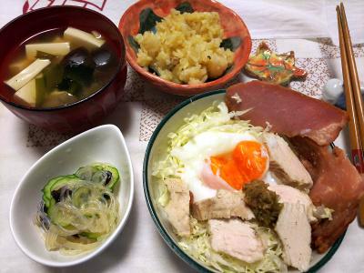 DSC_9871_1212夜-サンマオレンジご飯、蒸し鶏焼豚温泉卵サラダ、味噌汁、酢の物_400.jpg