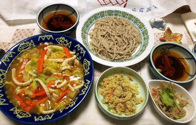 DSC_9920_1215夜-イカ刺しと白菜の炒めもの豆板醤風味、卯の花、ゴボウと蒸し鶏胡麻和え惣菜、蕎麦_400.jpg
