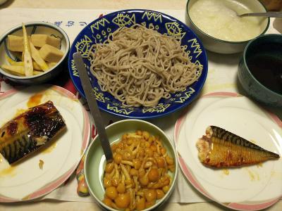 DSC_0826_1231夜-サバ照焼き、高野豆腐と筍煮物、なめこ、大根おろし、年越し蕎麦_400.jpg