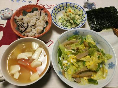 DSC_1084_0108夜-じゃこ天キャベツ卵とじ、豆腐スープ、ポテトサラダ、雑穀ごはん、海苔_400.jpg