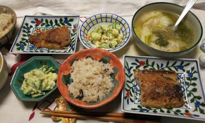 DSC_1094_0109夜-鯖西京漬け、海老ワンタン、ポテトサラダ、雑穀ごはん_400.jpg