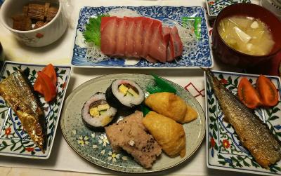 DSC_1191_0120夜-塩麹サンマ、ブリの刺身、海苔巻、いなり寿司、おこわ、味噌汁、はりはり漬け_400.jpg