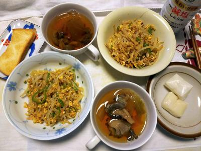 DSC_1223_0122昼-もやしツナ炒め、ひらたけスープ、餅、トースト_400.jpg