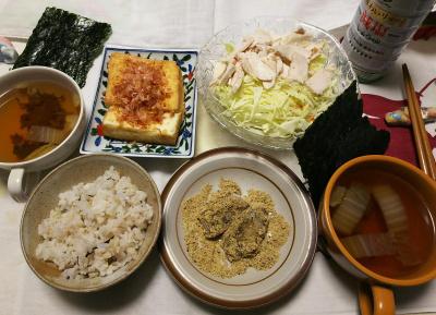 DSC_1140_0123昼-蒸し鶏サラダ、厚揚げ焼き、スープ、きなこ餅海、雑穀ごはん、海苔_400.jpg