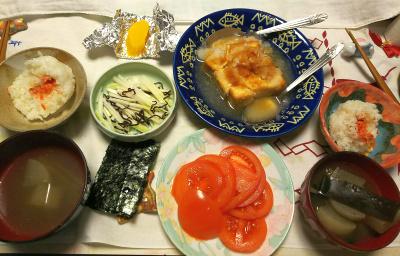 DSC_1323_0127夜-厚揚げ焼き大根おろし、トマト、スープ、鮭握り飯、海苔、大根昆布和え、沢庵_400.jpg