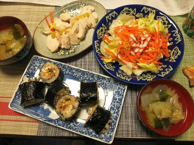 DSC_1330_0202夜-恵方巻練習ナムルとちくわ、蒸し鶏、レタス人参サラダ、白菜スープ_400.jpg