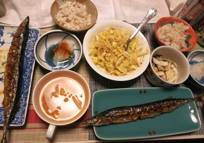 DSC_1409_0211夜-サンマ焼きと大根おろし、レタスポテトサラダ、スープ、大根昆布和え、雑穀ごはん_400.jpg