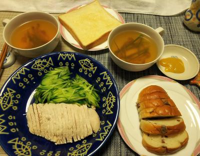 DSC_1573_0218夜-蒸し鶏、きゅうり、スープ、ぶどうパン、トースト(辛子酢味噌は美味しくない)_400.jpg