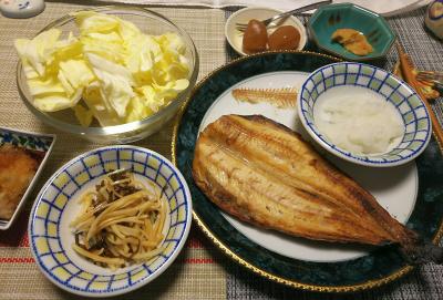 DSC_1589_0221夜-ほっけ焼き、大根おろし、キャベツ、煮こんにゃく、大根昆布和え_400.jpg