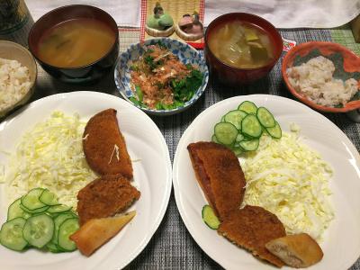 DSC_1761_0301夜-ハムカツ、春巻き、キャベツサラダ、からし菜おひたし、野菜スープ、雑穀ごはん_400.jpg